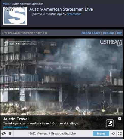 Austin Travel overlay on smoking building video