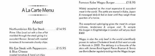 Restaurant menu italic font