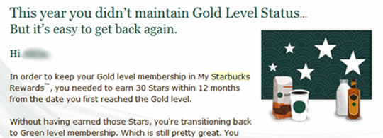 Starbucks Loyalty Message