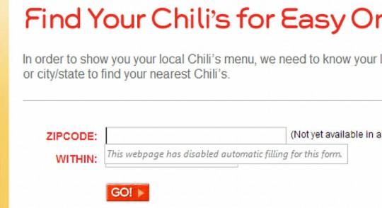 Chilis.com form