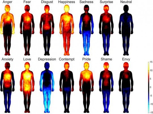 Emotions and body locations